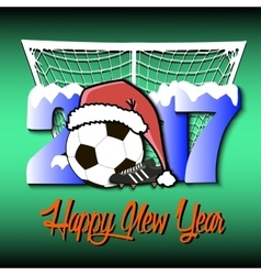 New Year numbers 2017 and soccer ball vector image