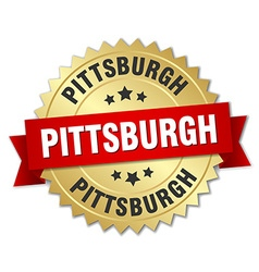 Pittsburgh round golden badge with red ribbon vector image vector image