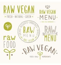 Raw vegan badges vector