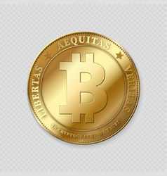 realistic gold bitcoin on transparent background vector image vector image