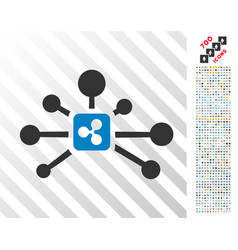 Ripple connections flat icon with bonus vector