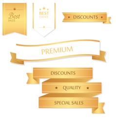 Sale banner design collection of golden banners vector