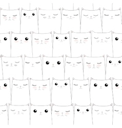 Seamless pattern with cute cats Elegant thin line vector image