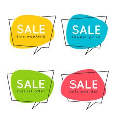 Set of flat speech bubble shaped banners price vector