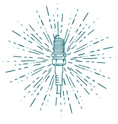 Spark Plug with Vintage Sun Burst Isolated on vector image vector image