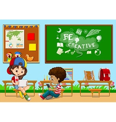 Students learning in the classroom vector image vector image