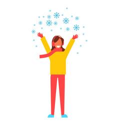 Woman snowflakes having fun vector