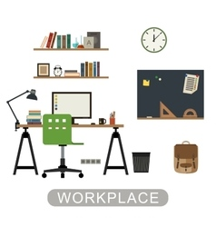 Workplace in room vector image