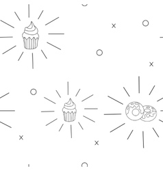 Pattern Cupcake and donut Fast food seamless vector image