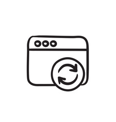 Browser window with refresh sign sketch icon vector