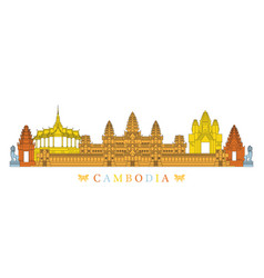 Cambodia landmarks skyline line and colourful vector