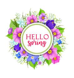 hello spring floral frame greeting card design vector image