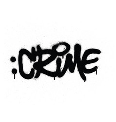 Graffiti crime word sprayed in black on white vector