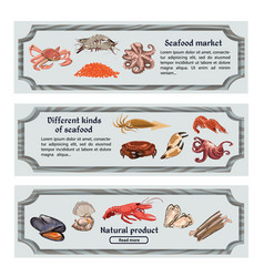 Colorful hand drawn seafood horizontal banners vector
