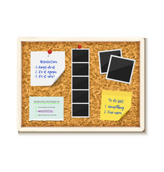 Noticeboard cork board with paper notes to do vector