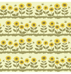 Cute sunflowers vector