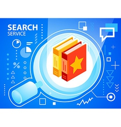 Bright glass search and books on blue backgr vector