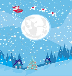 Winter landscape with reindeer houses and Santa vector image