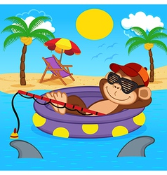 Monkey fishing on sea vector
