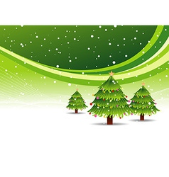 Christmas tree in snowy green background vector