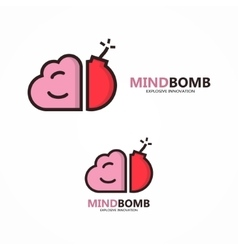 Logo combination of brain and bomb vector