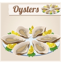 Oysters detailed icon vector