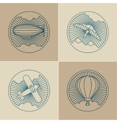Set of round logo icons air transport and flying vector