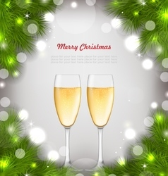 Merry christmas background with glasses of vector