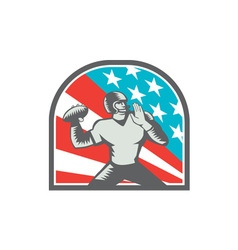 American Football Quarterback QB USA Flag Woodcut vector image