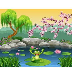 Cute frog jumping on the lily water vector image