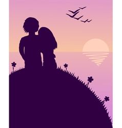Lovers glazing sunset vector