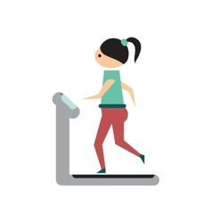 Flat web icon on white background girl treadmill vector