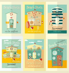 Beach huts posters vector