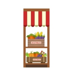 Market vegetable shelf vector