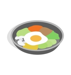 Korean dish bibimbap icon isometric 3d style vector