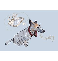 Adorable yawning dog vector