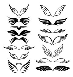 Angel wings set hand drawn sketch on white vector