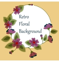 Background with round floral banner retro vector image vector image