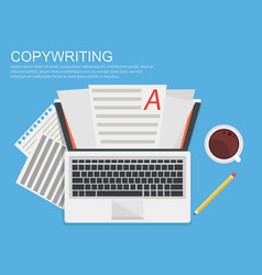 banner copywriting computer with papers vector image vector image