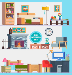 Big detailed interior set home furniture vector