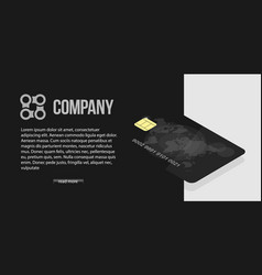 black credit card with world map and security vector image vector image