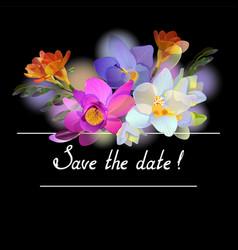 Black invitation with freesia flowers vector