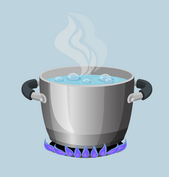 Boiling water in aluminium pot on gas flame vector