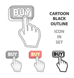 buying click icon in cartoon style isolated on vector image