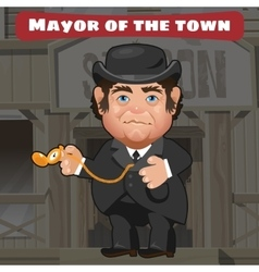 Cartoon character in Wild West - mayor in the town vector image vector image