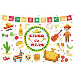 cinco de mayo celebration in mexico icons set vector image