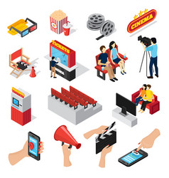cinema elements icon set vector image vector image