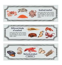 Colorful hand drawn seafood horizontal banners vector
