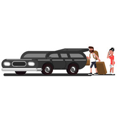 Couple loads suitcases into the car vector