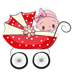 Cute cartoon baby girl vector